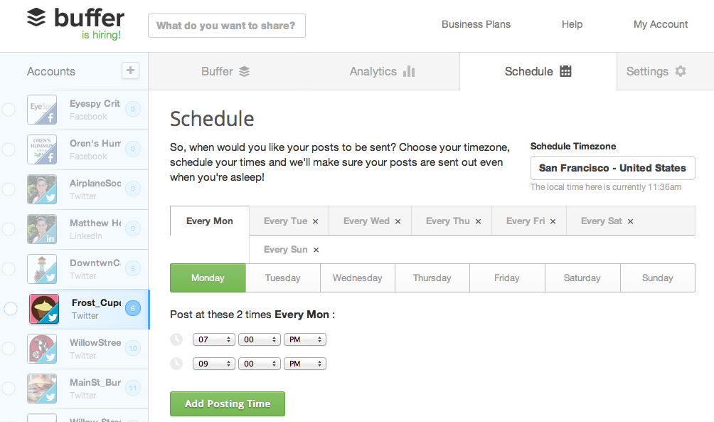 Social Post Scheduling: Buffer